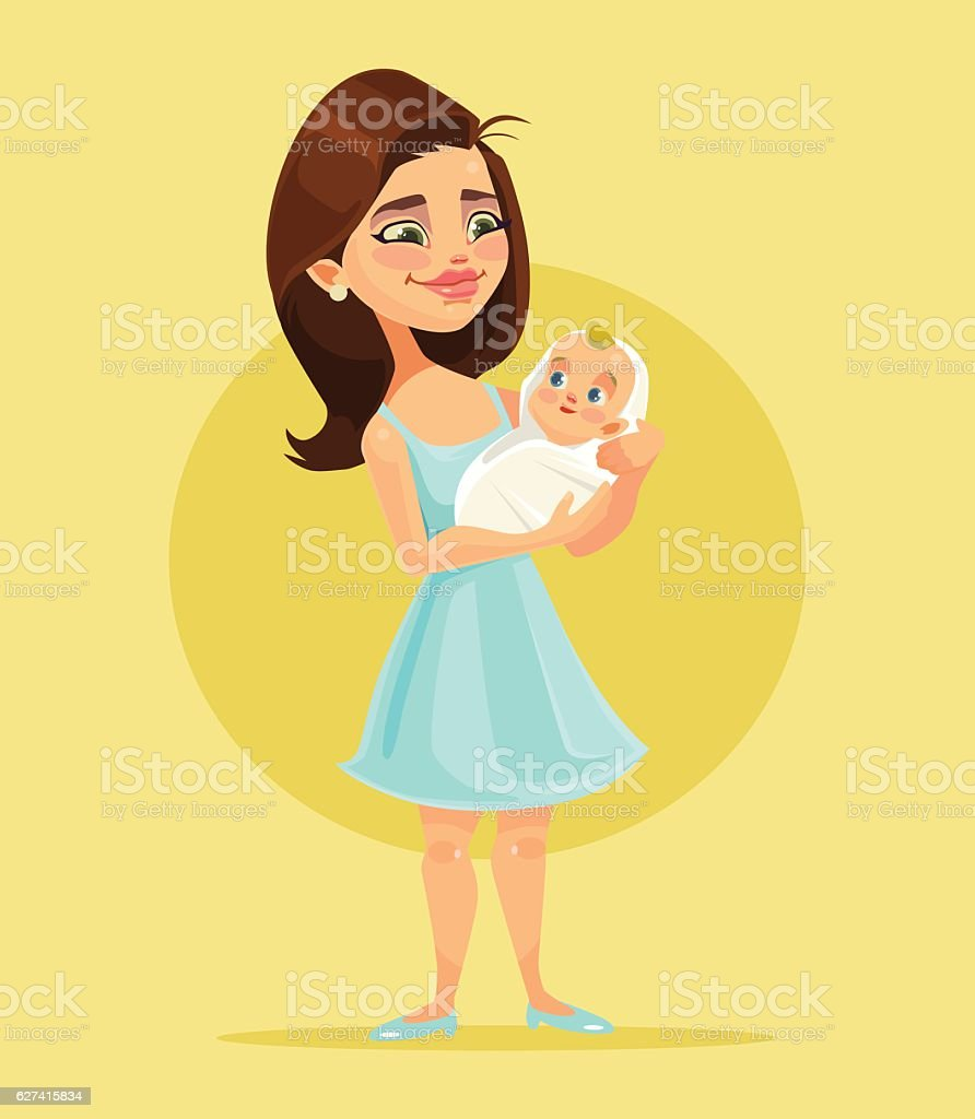 Mother character holds little child on hands vector art illustration
