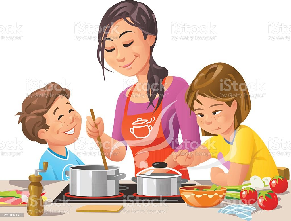 Mother Cooking With Kids vector art illustration