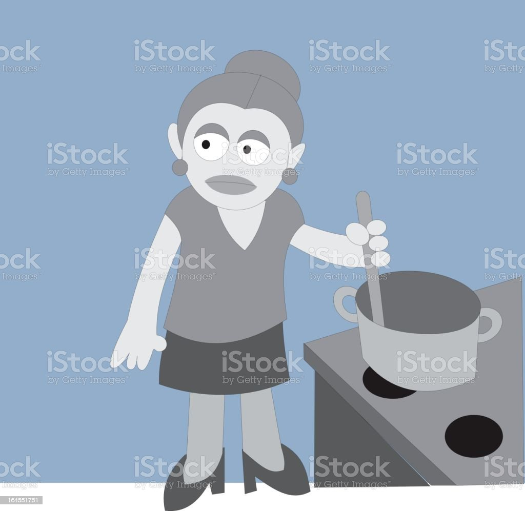 mother cooks vector art illustration