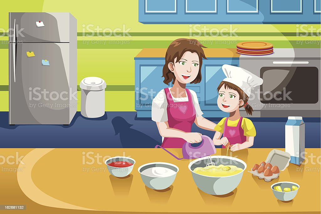 Mother daughter baking royalty-free stock vector art