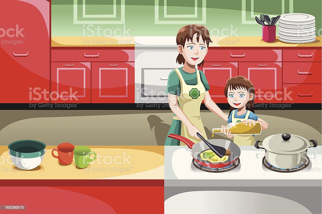 Mother daughter cooking royalty-free stock vector art