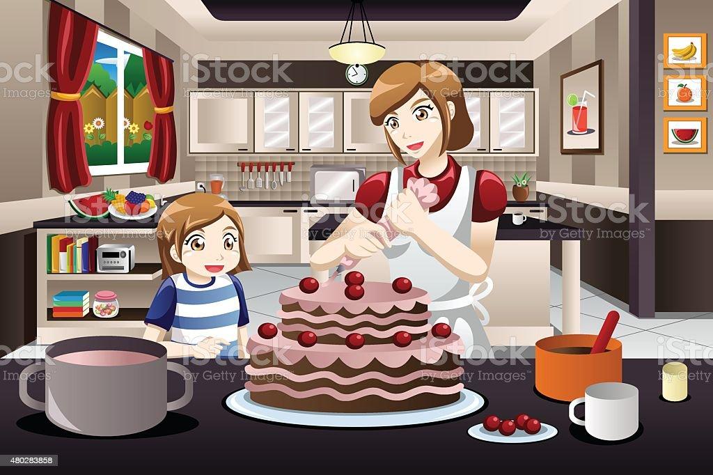 Mother Daughter Decorating a Cake vector art illustration