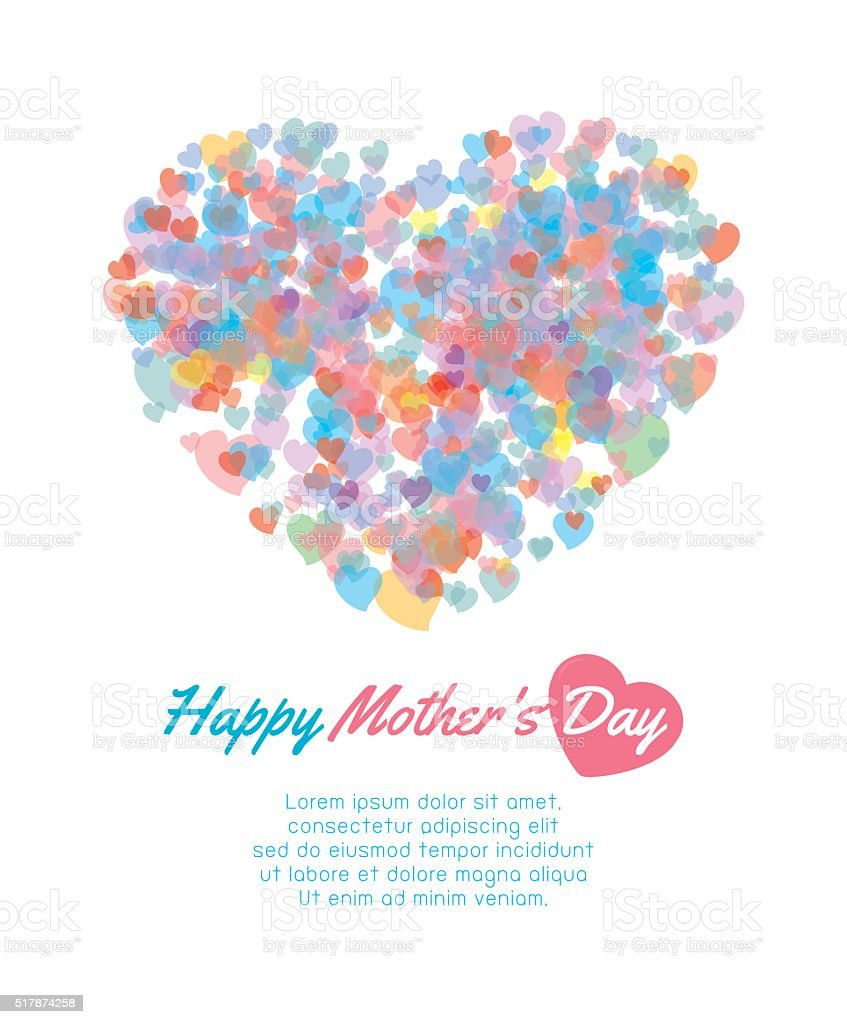 mother day background with heart, Card of Happy Mothers Day vector art illustration