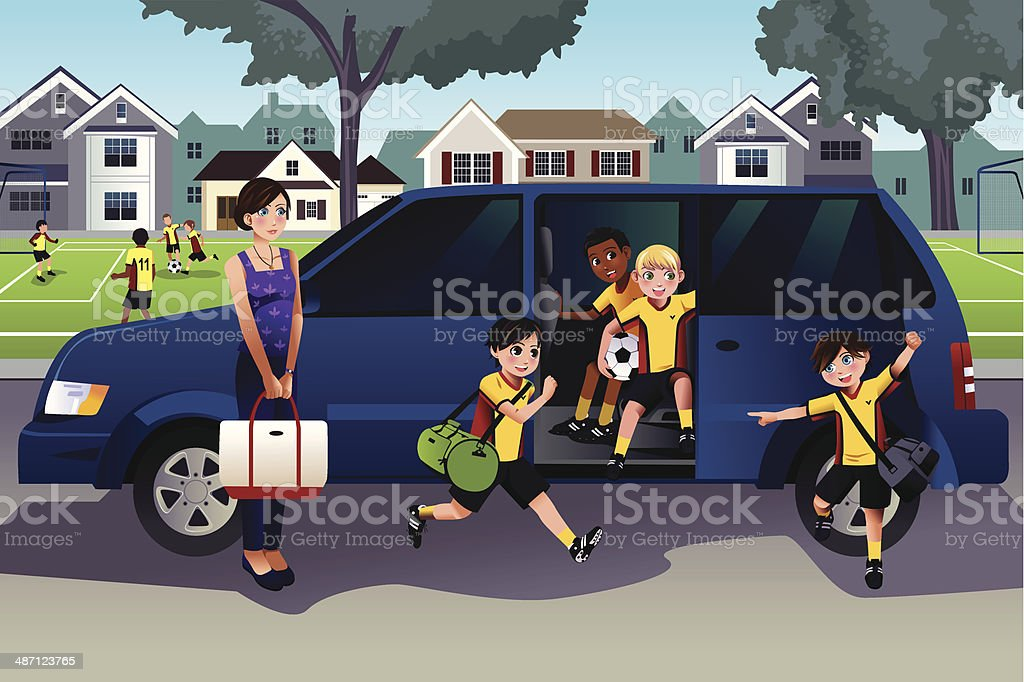 Mother driving kids to soccer practice vector art illustration