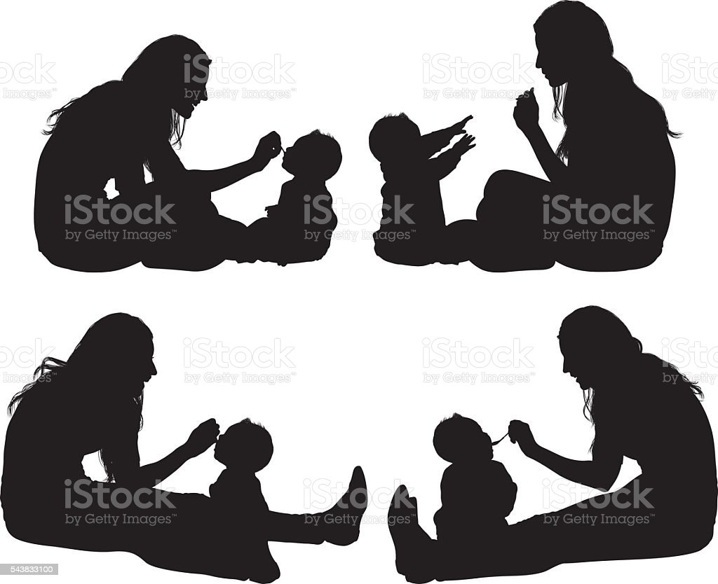 Mother feeding her baby vector art illustration