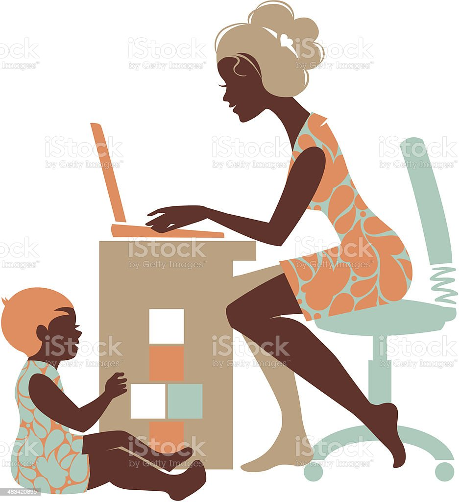 Mother – freelancer vector art illustration