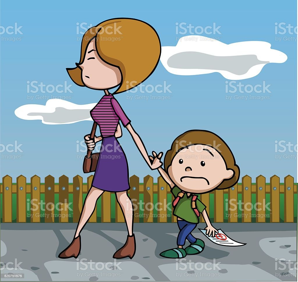 Mother furious at her son because of his test fail. vector art illustration