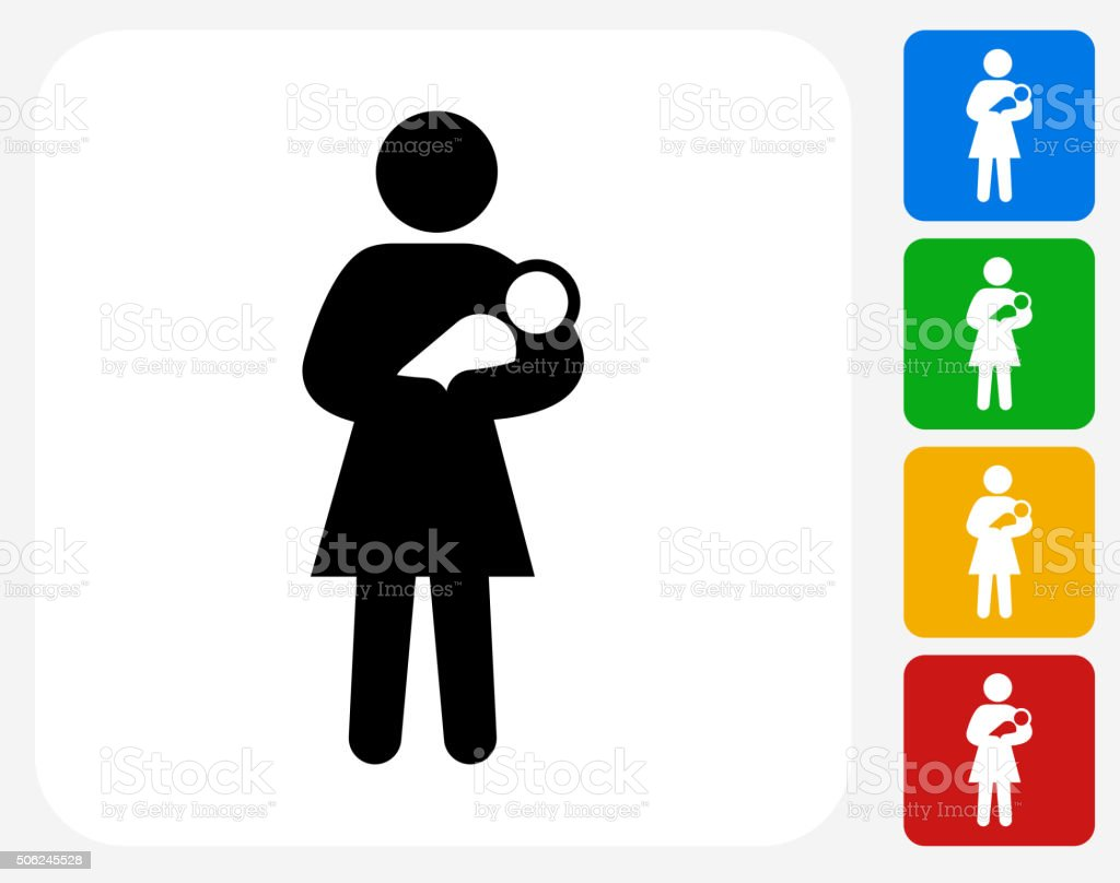 Mother Holding Baby Icon Flat Graphic Design vector art illustration