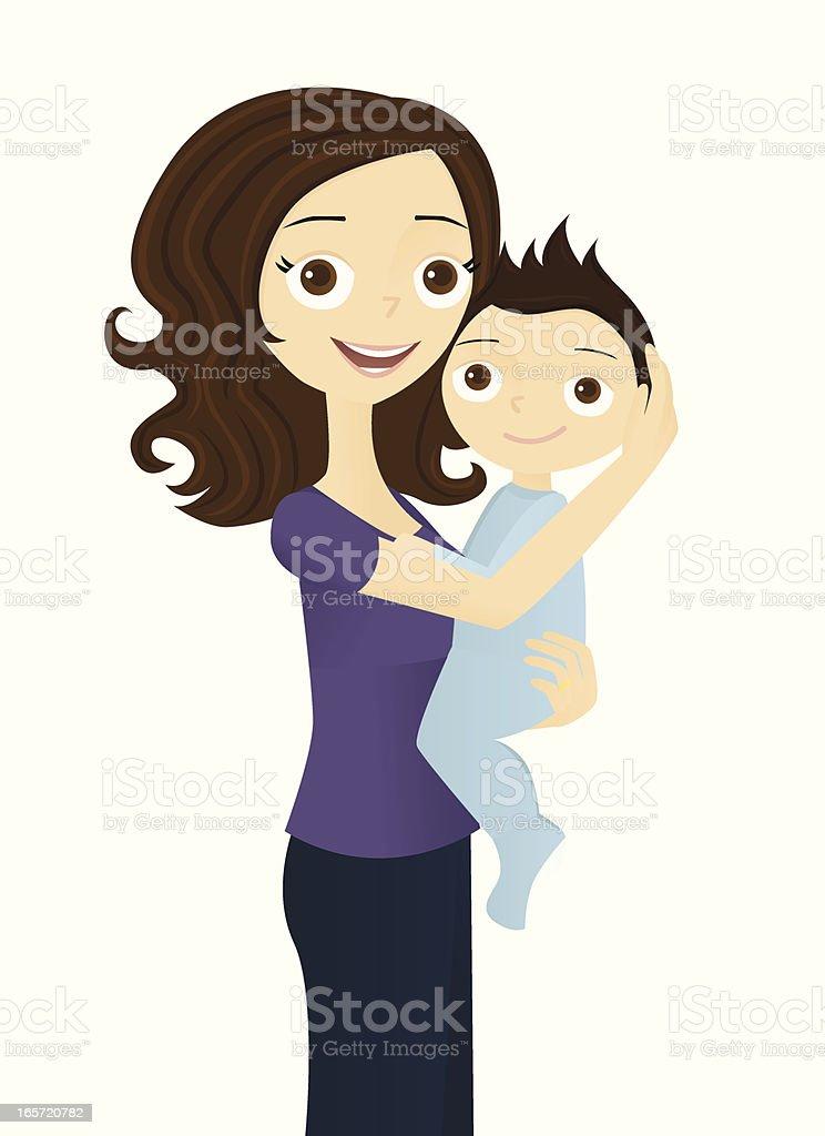 Mother Holding Baby vector art illustration