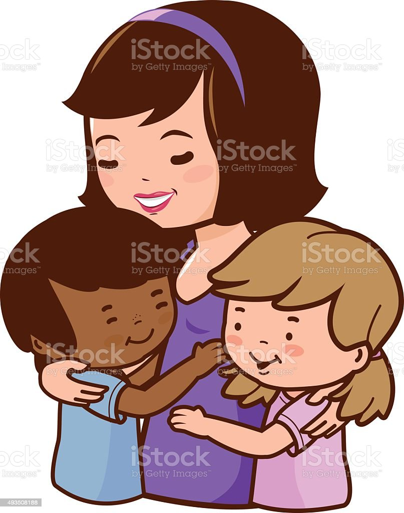 Mother holding her adopted children vector art illustration