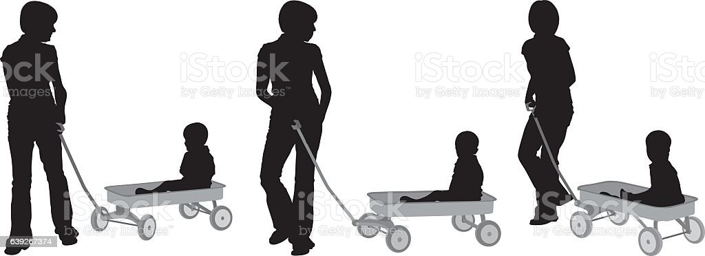 Mother holding toy wagon vector art illustration
