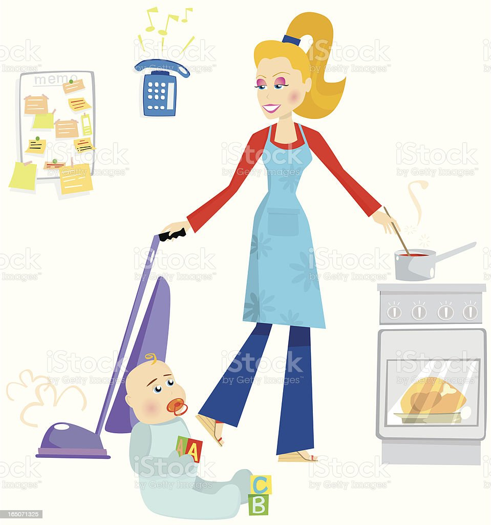 Mother juggling household chores royalty-free stock vector art