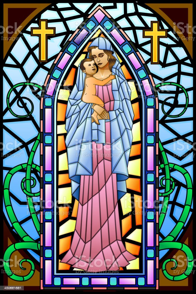 Mother Mary with Jesus Christ royalty-free stock vector art