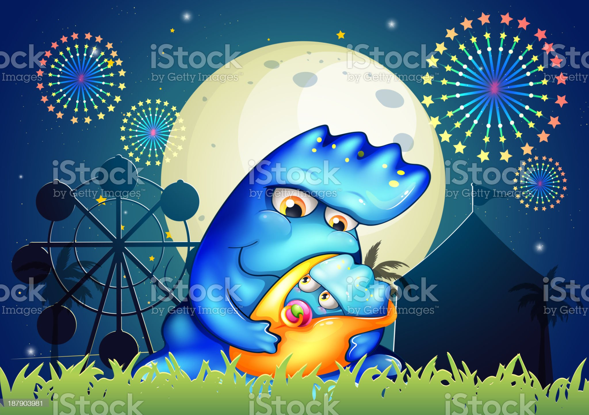 mother monster pacifying her child near the carnival royalty-free stock vector art