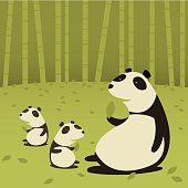 Mother Panda with Cubs