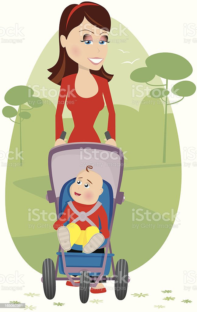 Mother pushing a pram through park royalty-free stock vector art