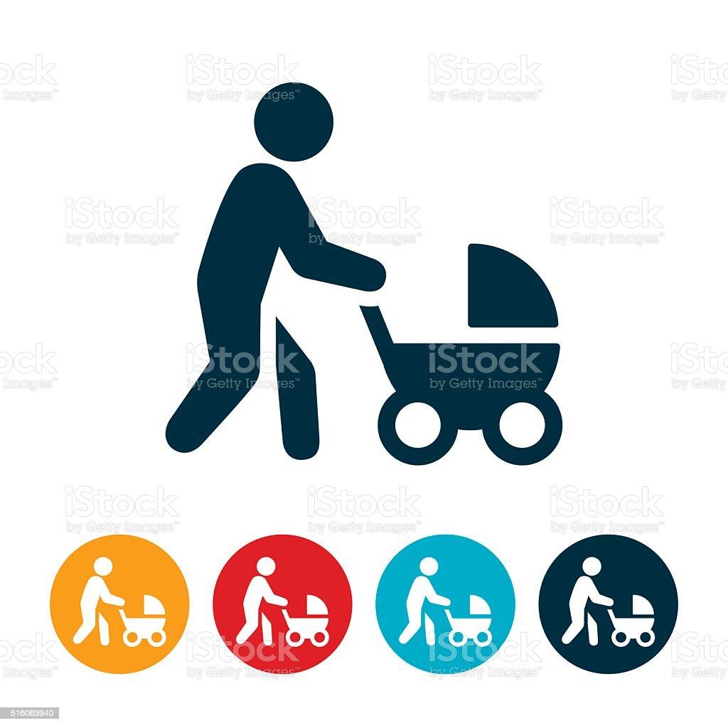 Mother Pushing Stroller Icon vector art illustration