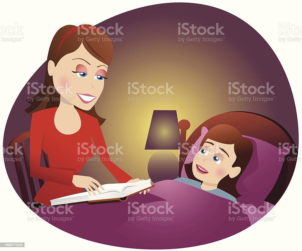 Mother reading to girl in bed vector art illustration