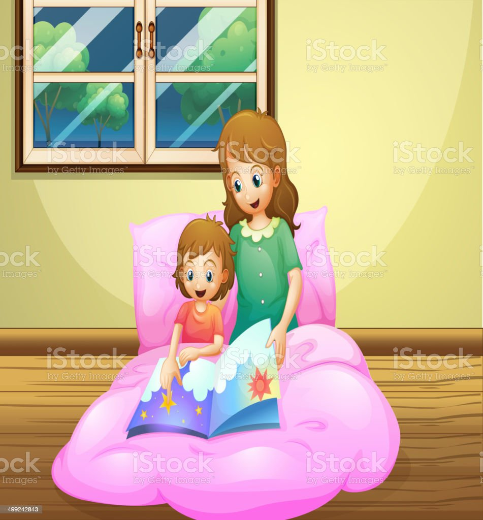 Mother reading with her daughter royalty-free stock vector art