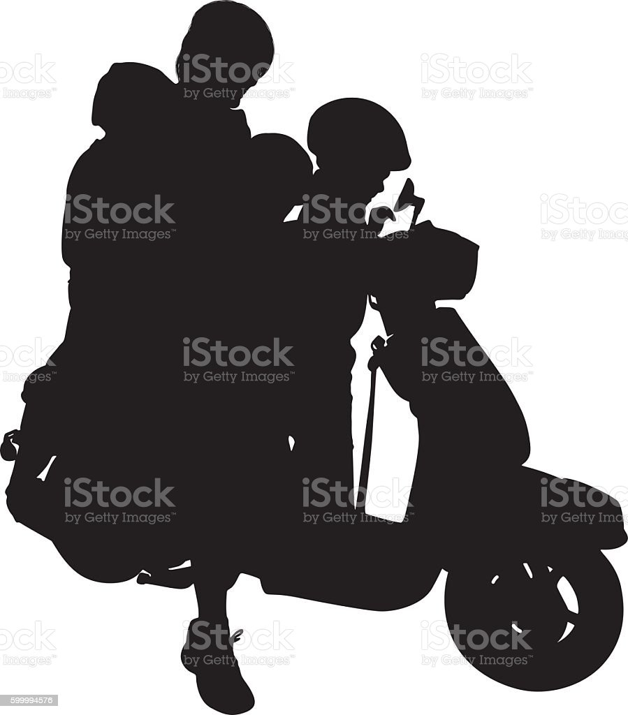 Mother riding motor scooter with her children vector art illustration