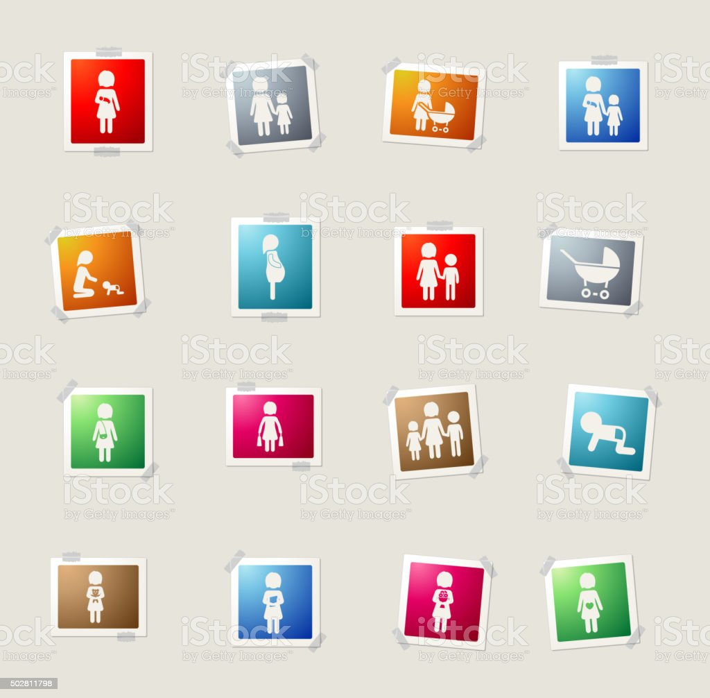 Mother simply icons vector art illustration