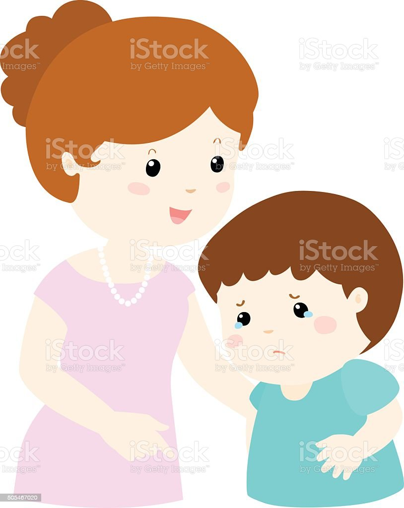 Mother soothes crying son vector vector art illustration
