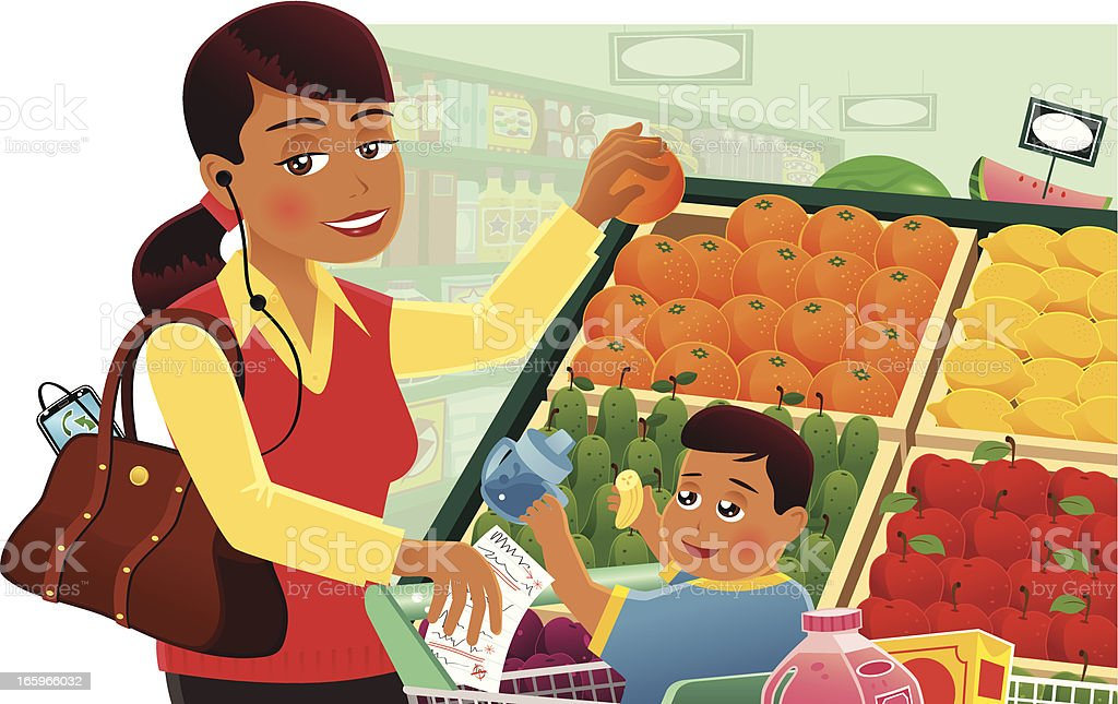 Mother supermarket shopping with baby royalty-free stock vector art
