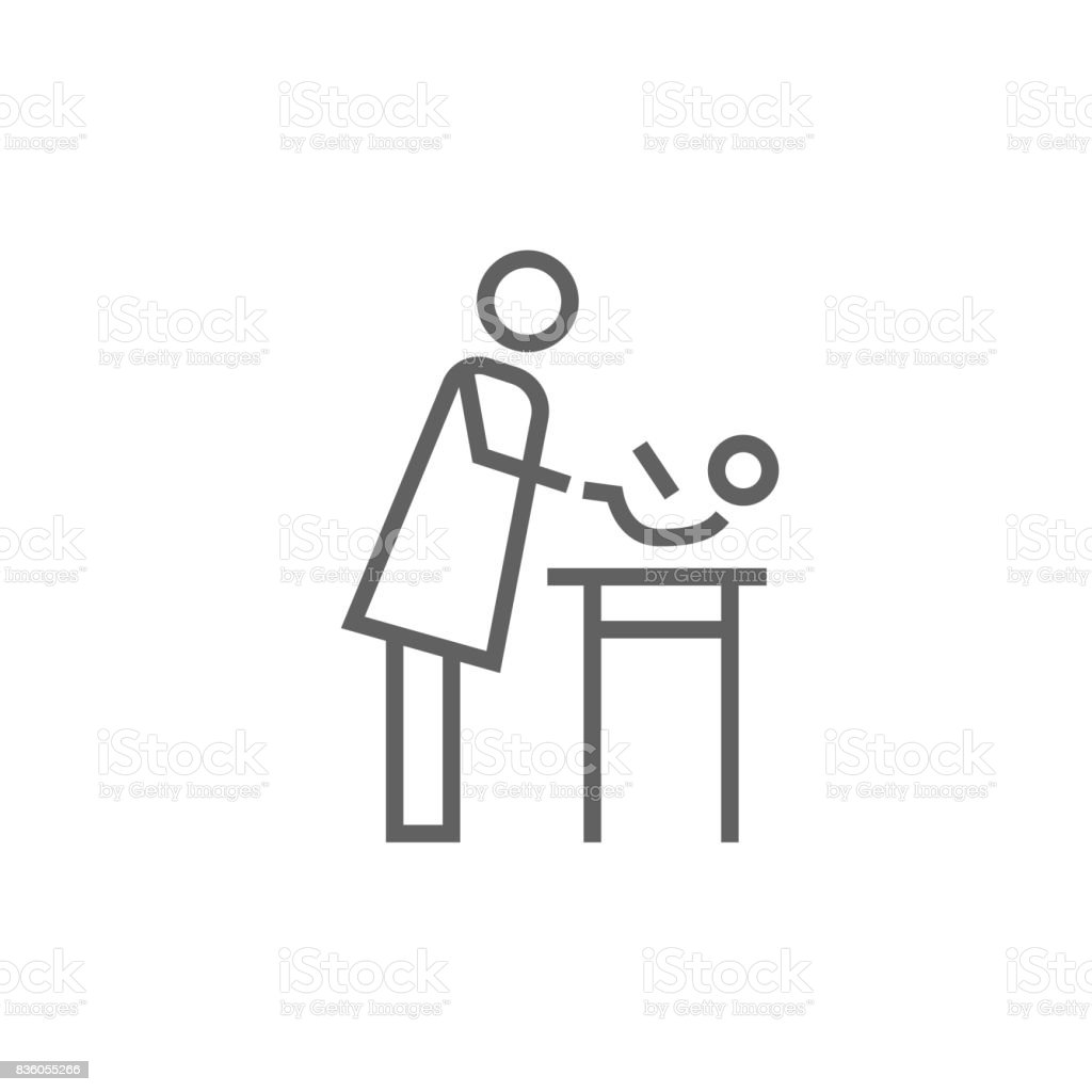 Mother taking care of baby line icon vector art illustration