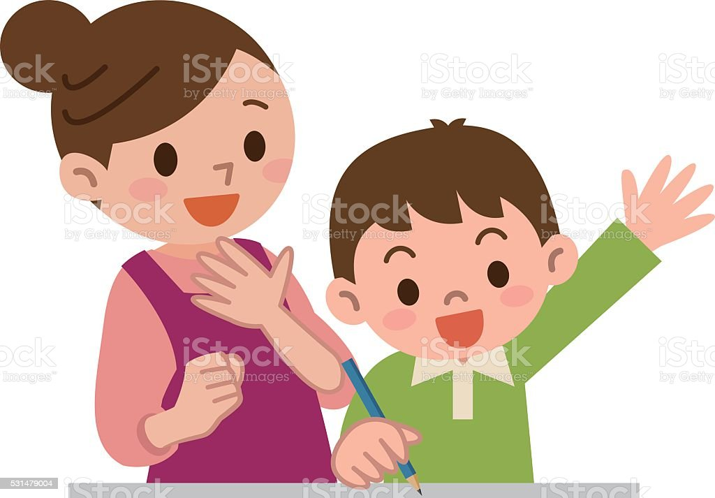 Mother to teach study to children vector art illustration
