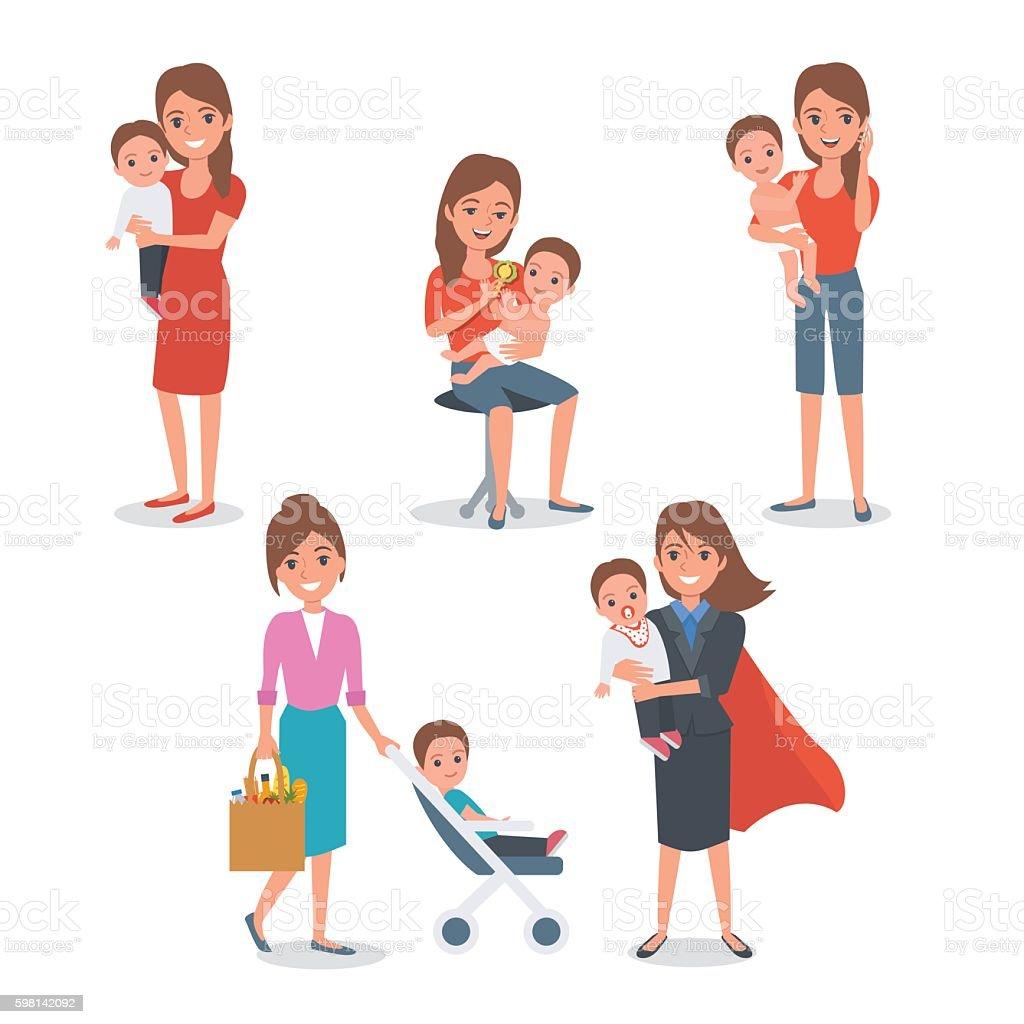 mother vector art illustration