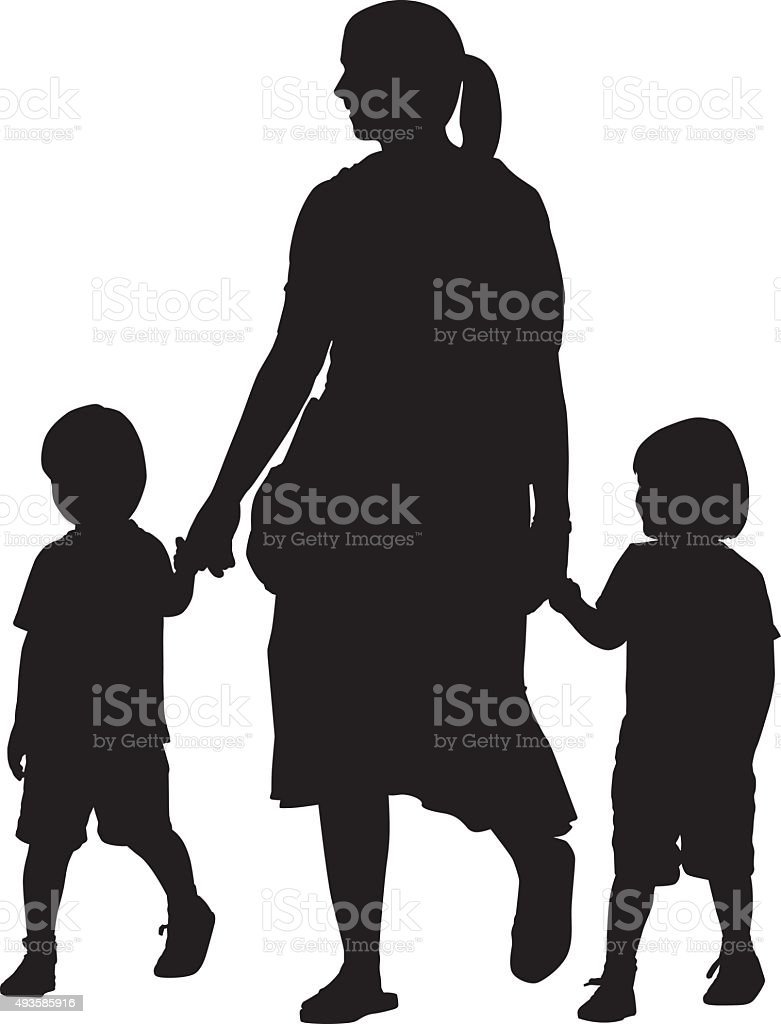 Mother Walking With two Small Boys vector art illustration