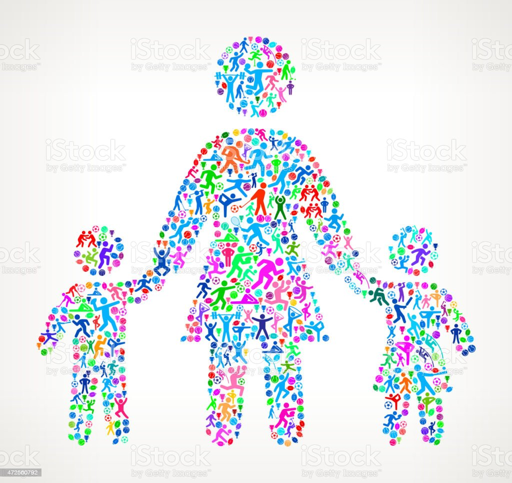 Mother with Children Fitness Sports and Exercise pattern vector vector art illustration