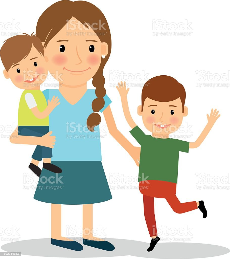 Mother with children. Young woman and two boys vector art illustration