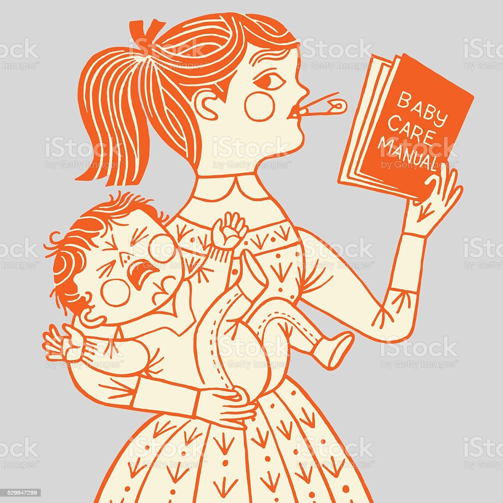 Mother with Crying Baby vector art illustration