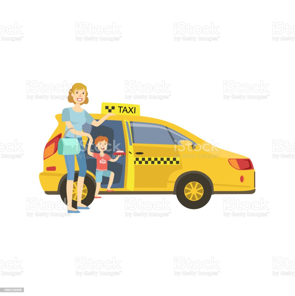 Mother With Daughter Entering Yellow Taxi Car vector art illustration