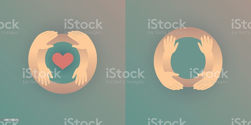 Mother with her baby, outline vector silhouette of hugging hands vector art illustration