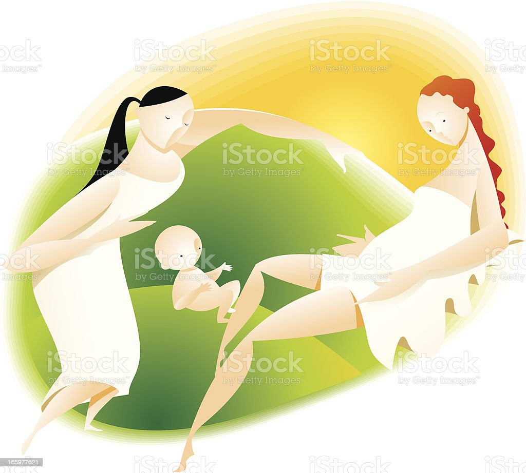 mother with newborn baby and doula vector art illustration