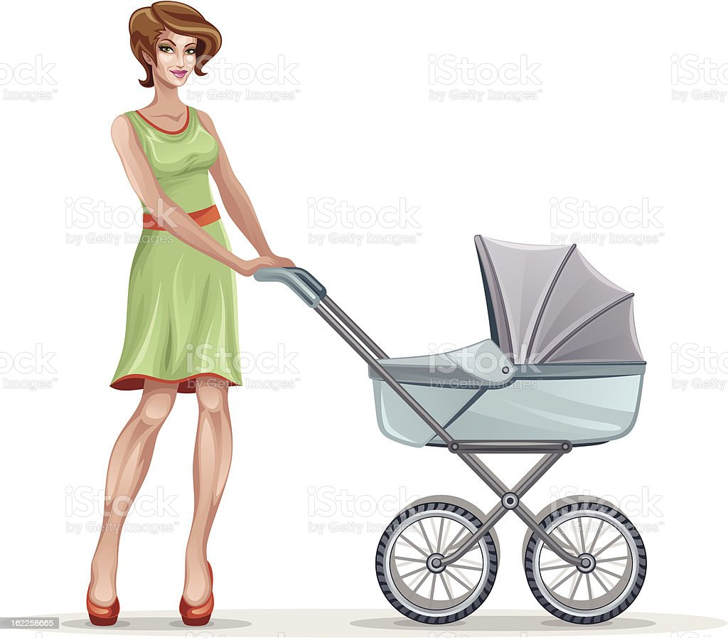 Mother with pram royalty-free stock vector art
