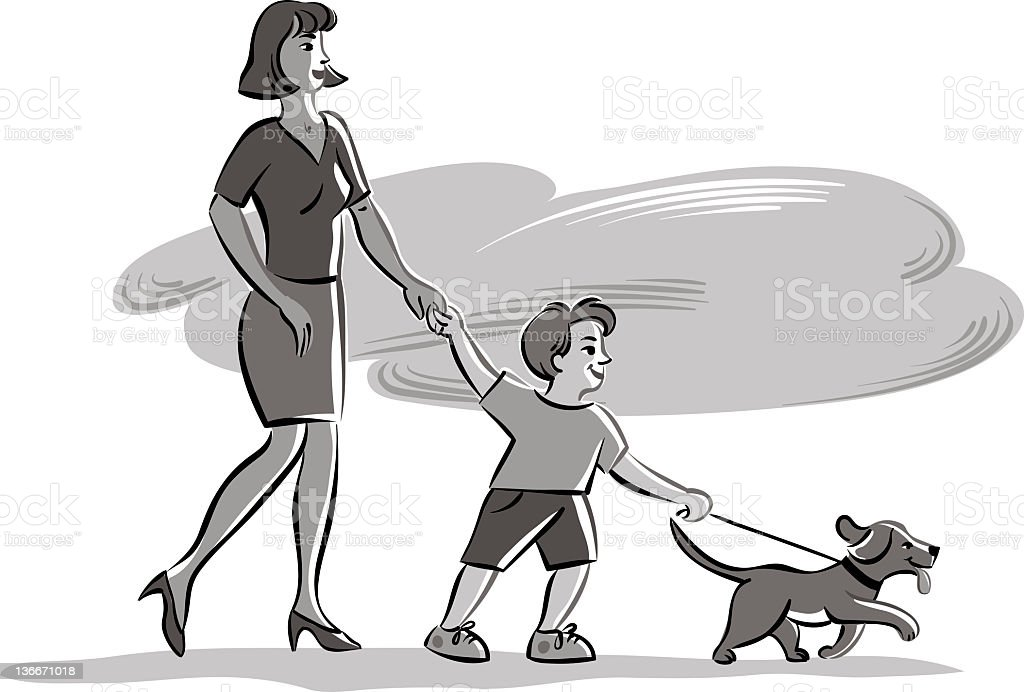 mother with son and dog royalty-free stock vector art