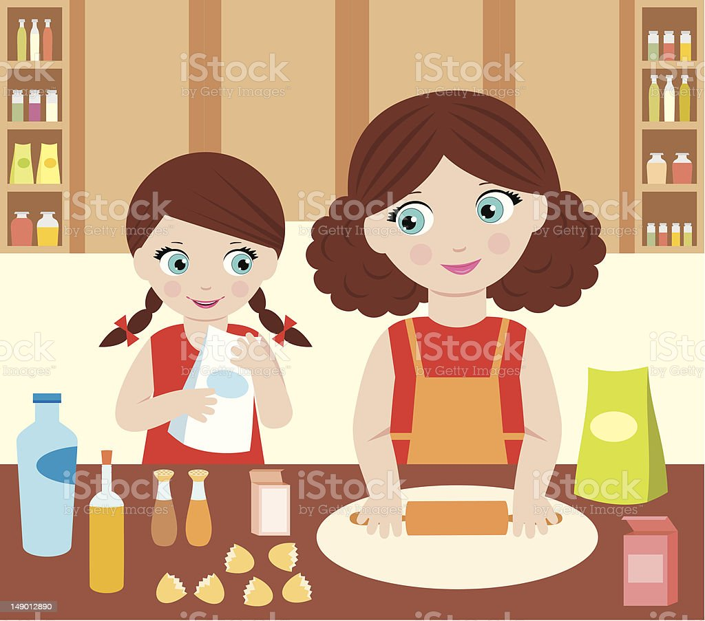 Mother with the daughter cook dough vector art illustration