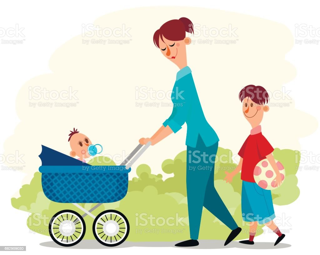 Mother with two children vector art illustration