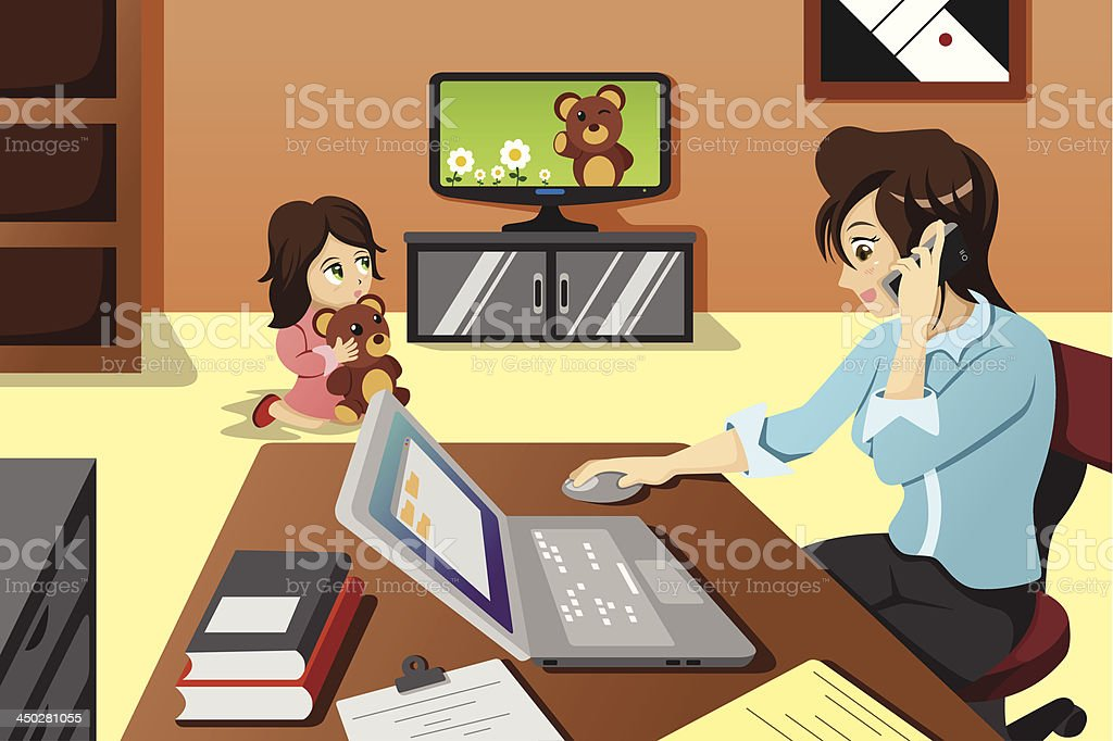 Mother working in the office vector art illustration