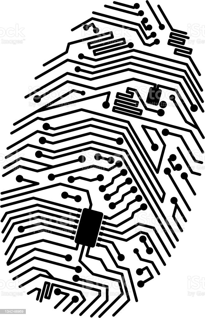 Motherboard fingerprint royalty-free stock vector art