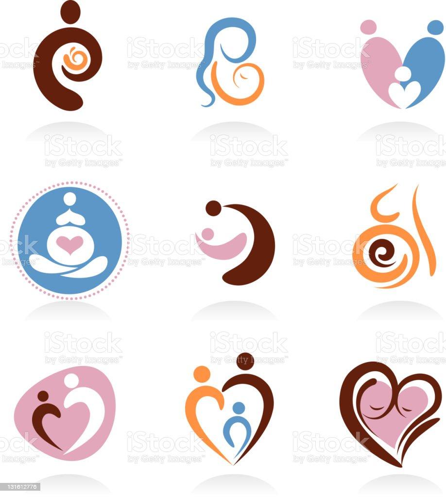 Motherhood, pregnancy, newborn icons and elements vector art illustration