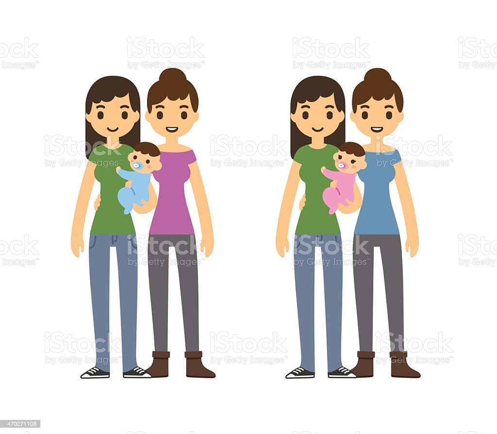 Mothers and baby vector art illustration
