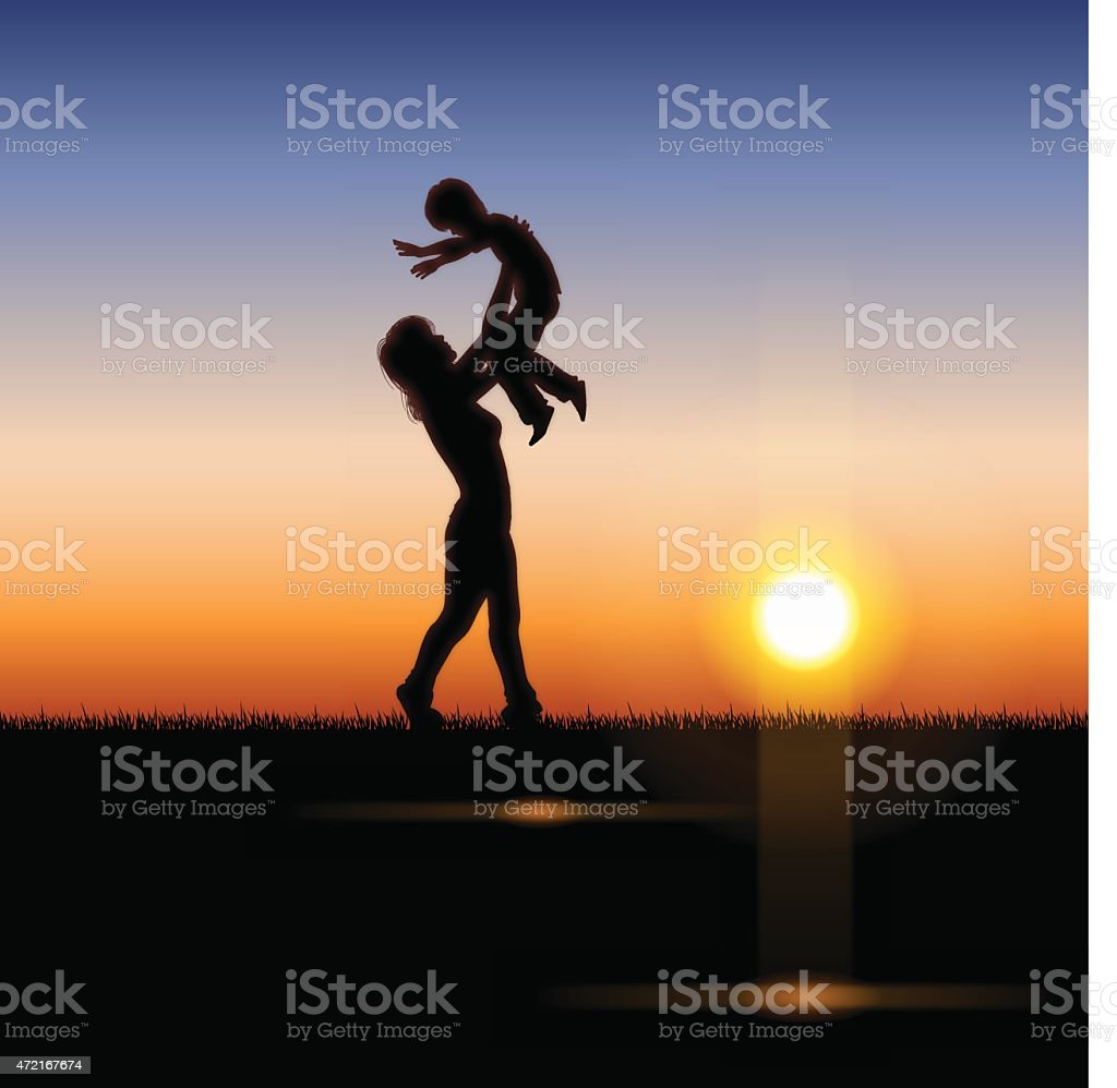 Mother's Day background[Mother and child in the sunset] vector art illustration