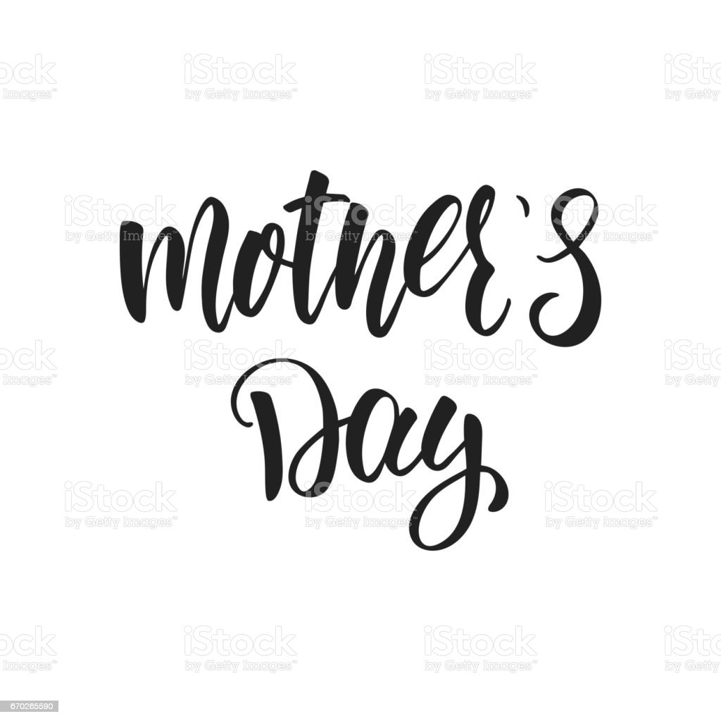 mothers day calligraphic lettering design holiday typography stock