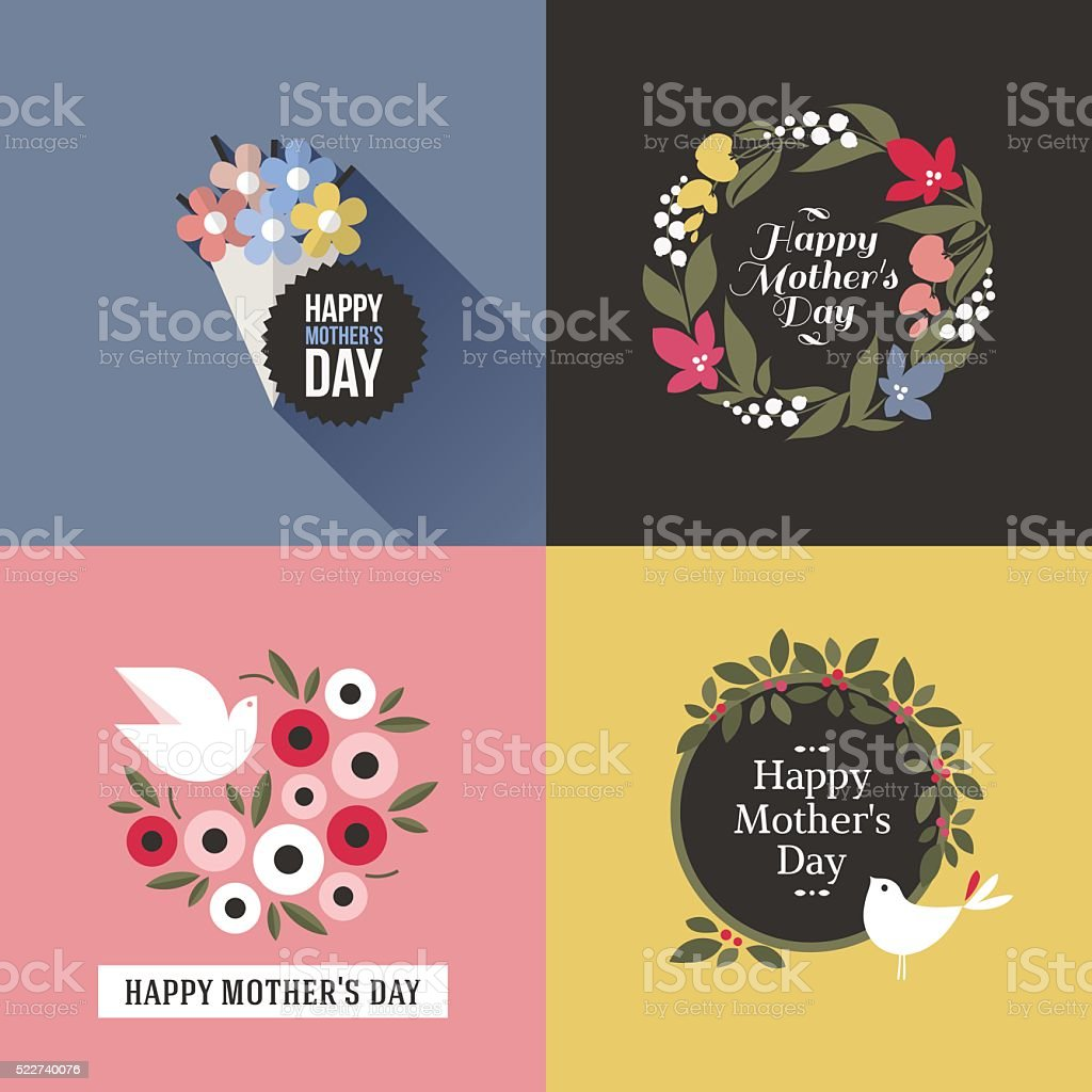 Mothers day card with pretty birds and floral decoration vector art illustration