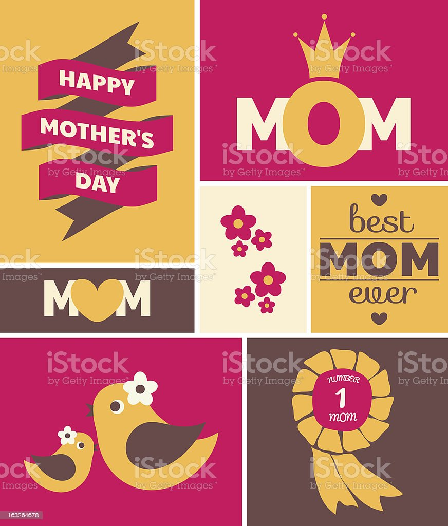 Mother's day cute greeting card royalty-free stock vector art