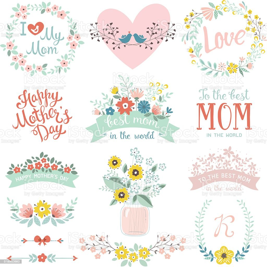 Mother's Day Design Set vector art illustration